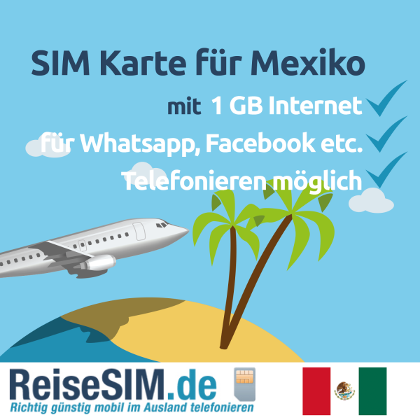 TravelFon Data SIM Karte fuer Mexiko inkl 1 GB Internet