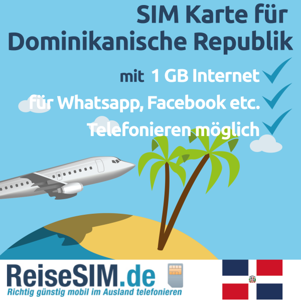 TravelFon Data SIM Karte fuer Dominikanische Republik inkl 1 GB Internet